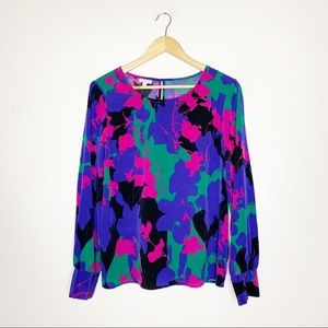 Talbots Colorful Long Sleeve Blouse Size Small